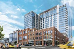 rendering of hyatt place planned for broadway & third.